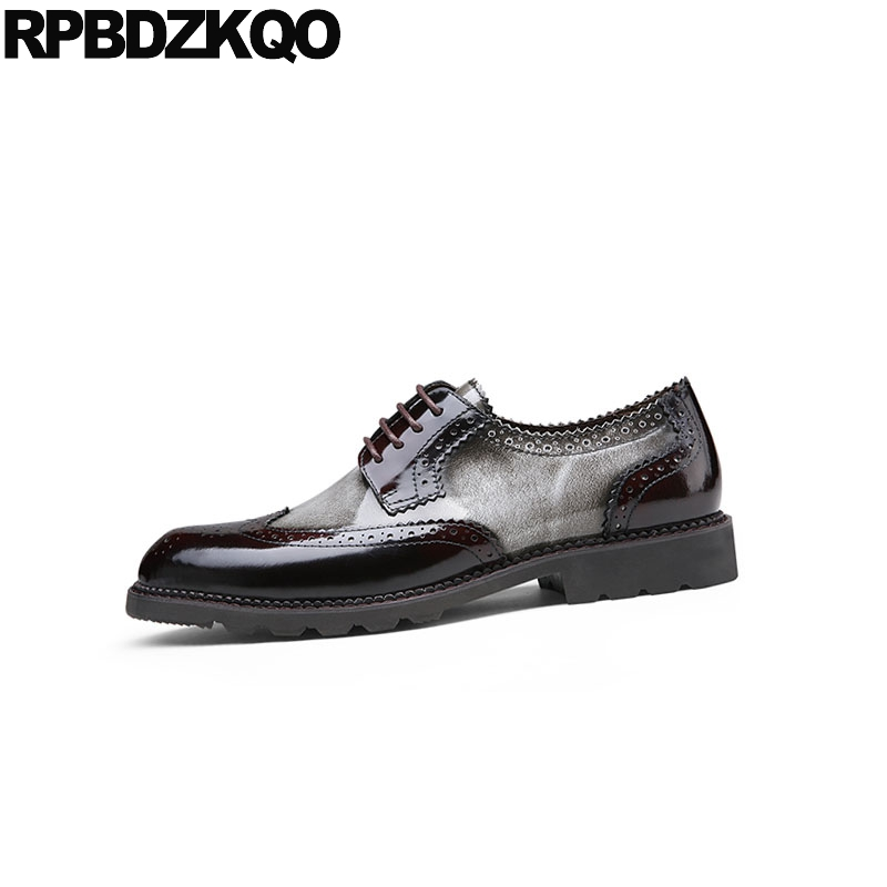 Fiesta Vestido Marca Oxfords Patente Europeo Italiano Zapatos De Brogue Hombres Wingtip Italia Clásico Gris Cuero Baile rojo Y Primavera Otoño aOSOxtw