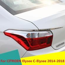 Car Rear Fog Lights Covers Decoration Lamp Frame Trim ABS Chrome Exterior decoration For CITROEN Elysee C-Elysee 2014-2018