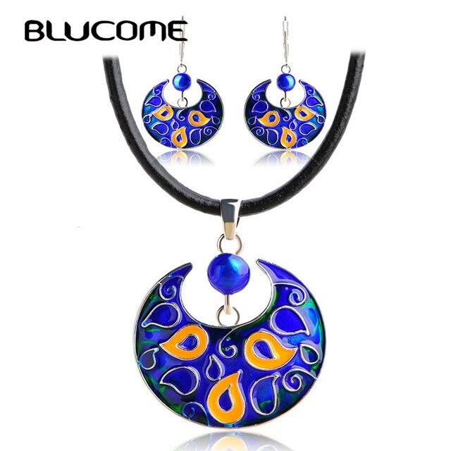 Blucome Vintage Bull Shape Necklace Earrings Set Black Rope Chain Pendant Blue Enamel Drop Women