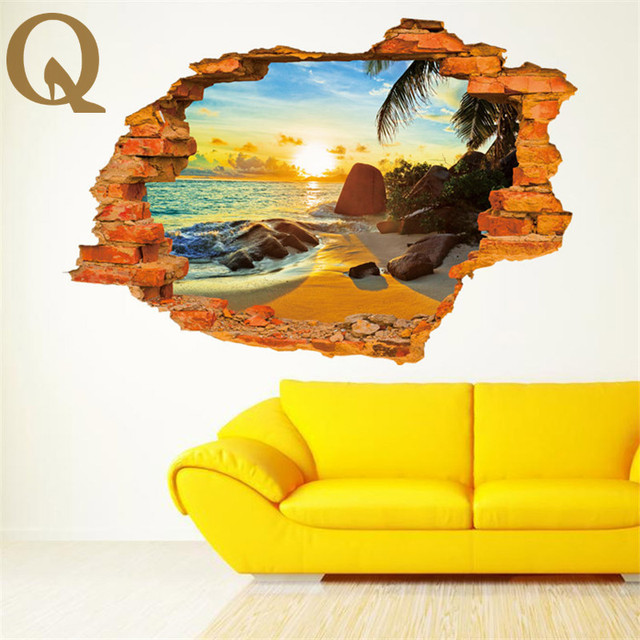 3D Broken Wall Vintage Brick Scenery Sunset Wall StickersBeach ...