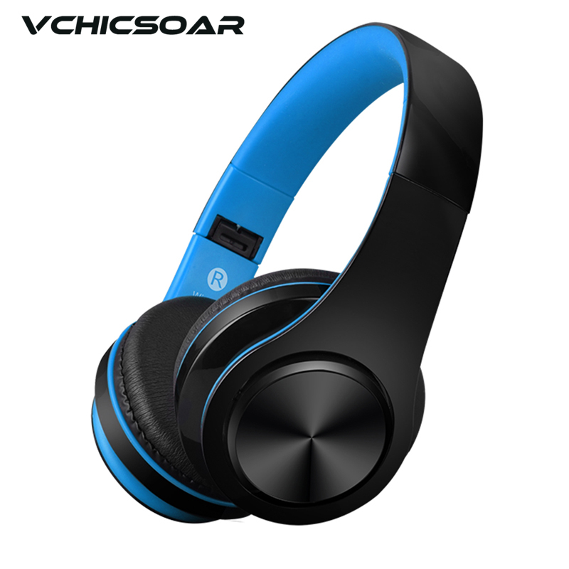 Vchicsoar Stereo Handsfree Headphones Bluetooth Audio Auriculares Wireless Headset Support TF Card for Computer AUX Phone MP3