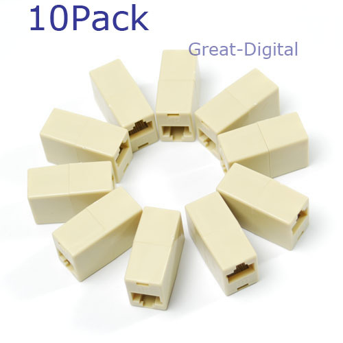 OOTDTY OOTDTY 10x RJ45 Ethernet Network Net LAN Plug Cable Join Extension Adapter Connector