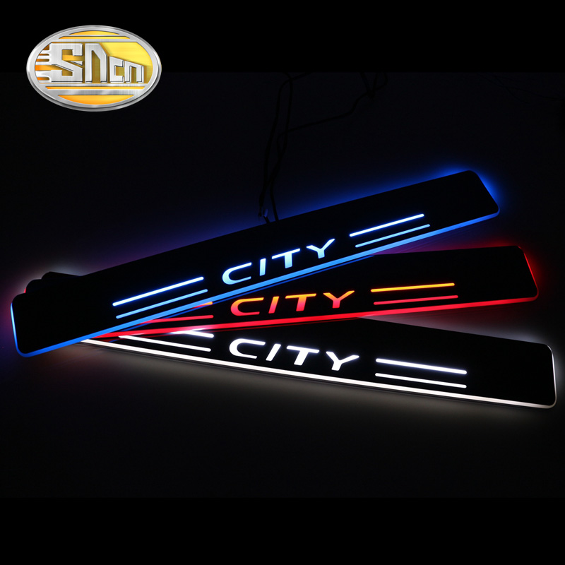 SNCN 4PCS Car LED Door Sill For Honda City 2012 2013 2014 2015 Ultra-thin Acrylic Flowing LED Welcome Light Scuff Plate Pedal free ship rear door of high quality acrylic moving led welcome scuff plate pedal door sill for 2013 2014 2015 audi a4 b9 s4 rs4 page 6