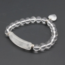Trendy-beads Silver Plated Romantic Cute Heart Connect Rectangle Natural Rock Crystal Round Beads Stretchy Bracelet