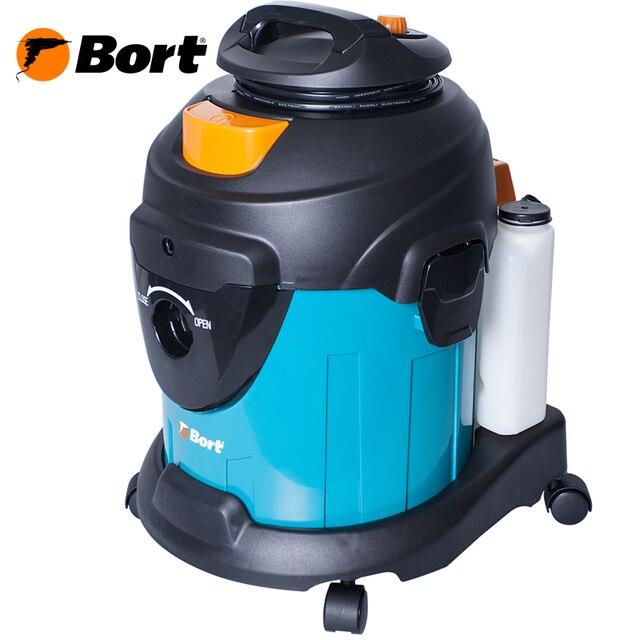 Моющий технический пылесос Bort BSS-1415-W (Мощность 1400 Вт, Распыление и сбор жидкости, электронная регулировка мощности, функция выдува, мешок из ткани для сбора мелкого мусора, HEPA фильтр)