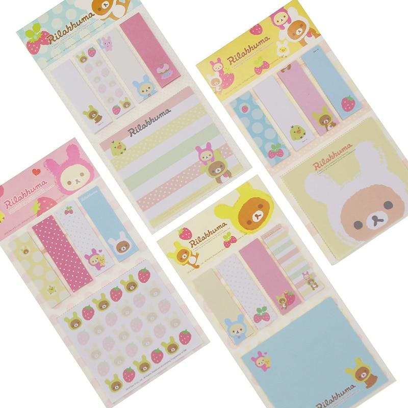 2 PCS Kawarii Cartoon Rilakkuma Memo Notepad,note Book memo Pad,sticky Notes Memo Set, gift Stationery Kcs