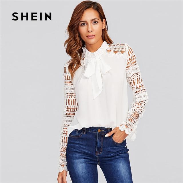 Frilled Moda Shein Lace Blusa Nueva Tie Neck Geo Sleeve Blanco 2018 RqCWwqFt