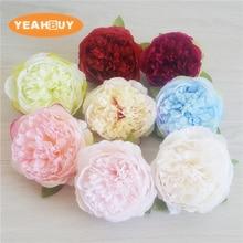 100pcs/lot 10cm High Quality Peony Flower Head Silk Artificial Wedding Decoration DIY Garland Craft