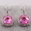 Pink Simulated Sapphire Silver Filled Earrings TE446