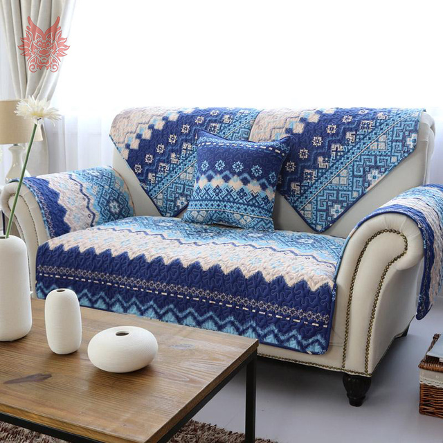 110 210cm 1pc American Style White Blue Striped Fl Print Quilting Sofa Cover
