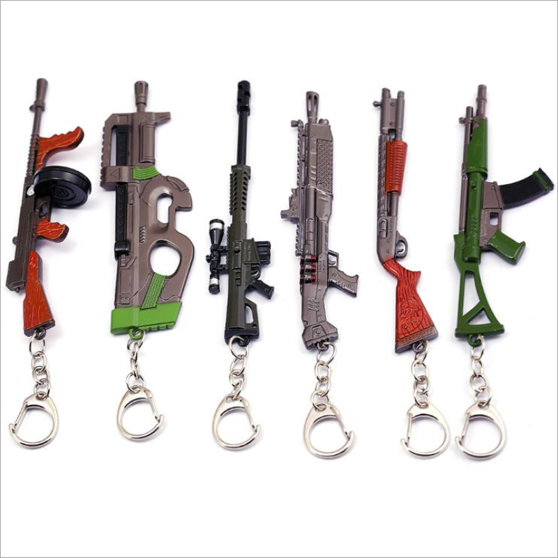 Hot Saling Diy 3D Gun Model Keyfob Weapon Keyring FPS PUBG Games Gun 98K AK47 Snipe Submachine Gun Keychain Souvenirs Gift 12CM