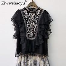 Ziwwshaoyu Elegant Embroidery shirt Stand Lace Polka Dot  Batwing Sleeve Ruffles Indie Folk Blouse spring and summer new women