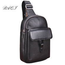 BAQI Brand Chest Bag Men Shoulder Bag Genuine Leather Cowhide 2019 Fashion Casual Crossbody Messenger Bag Men Back pack Travel brand genuine leather 10 tablet pc pack men s shoulder messenger bag casual travel business cross body bags men cowhide
