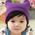 2016 New Spring Winter Baby Knitted Cap Kids Cat Ear Shape Crochet Hat For Newborn Baby -MKE057  PT30