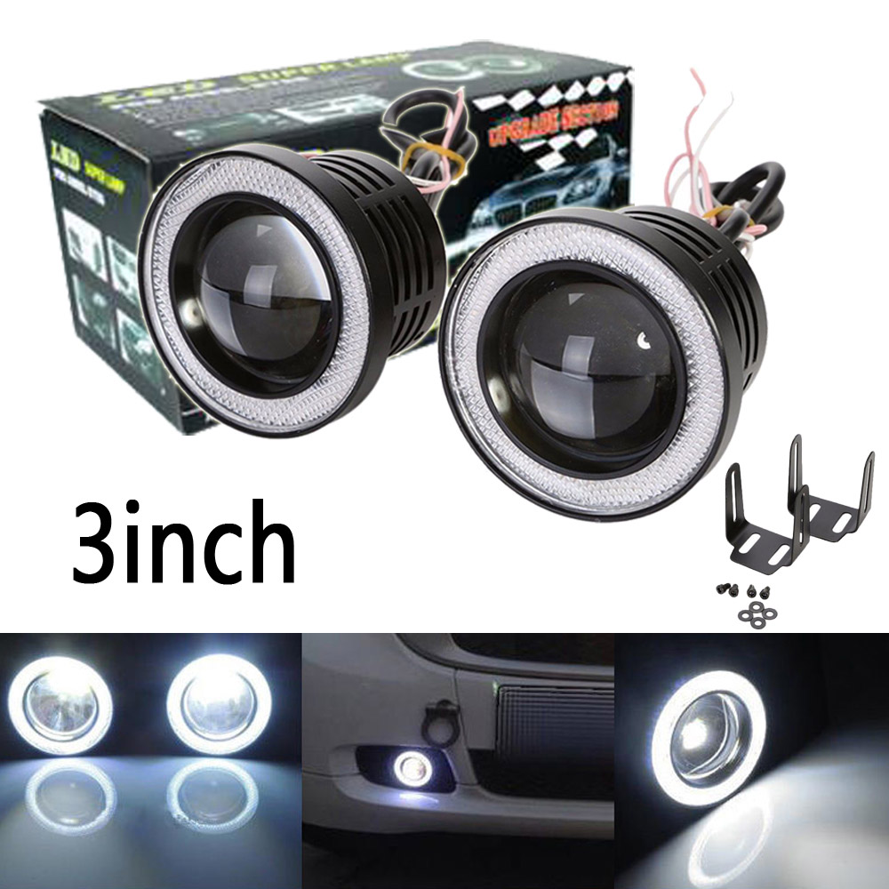 2X 3 inch 76mm 3200Lm Round LED COB Projector Fog Light with Angel Eyes Halo Ring White/Green/Amber/Blue/Pink/Red Car Auto 12V angel eyes super led light ring for car headlights motorcycle 50mm 5w x 2 one pair white amber red green blue