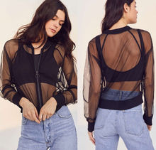 2019 Summer Black Mesh See Through Zipper Crop Top Sexy Womens Long Sleeve Lace Sheer Cover Up Top Outwear Streetwear lace up studded long sleeve crop top