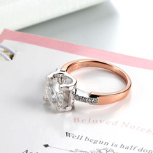 14K Two Tone Ring Rose Gold Moissanite Ring