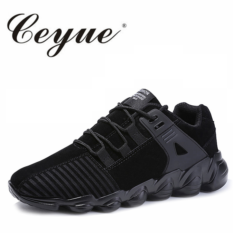 Ceyue Running Shoes Sport Men Breathable Lether Suede Fitness Men Walking Shoes New Plus Size 39-46 Lace Up Sneakers For Male