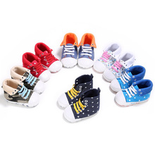 Fashion Baby Boy Girls Shoes High Top Lace Up First Walkers Sports Sneakers Newborn Kids Crib Solid Print Boots Shoes for 0-1T
