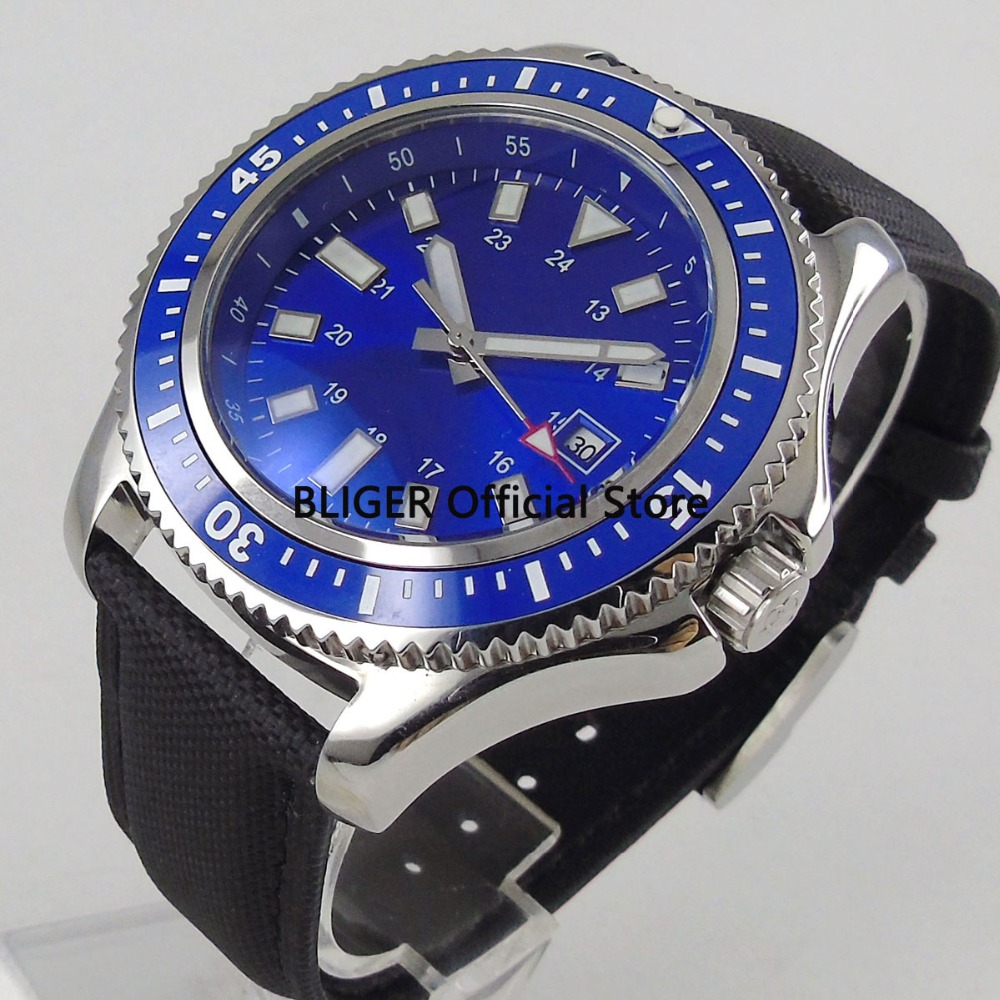 Classic BLIGER 44mm Blue Sterile Dial Blue Ceramic Bezel Solid Polished Case Luminous Miyota Automatic Movement Mens Watch B74Classic BLIGER 44mm Blue Sterile Dial Blue Ceramic Bezel Solid Polished Case Luminous Miyota Automatic Movement Mens Watch B74