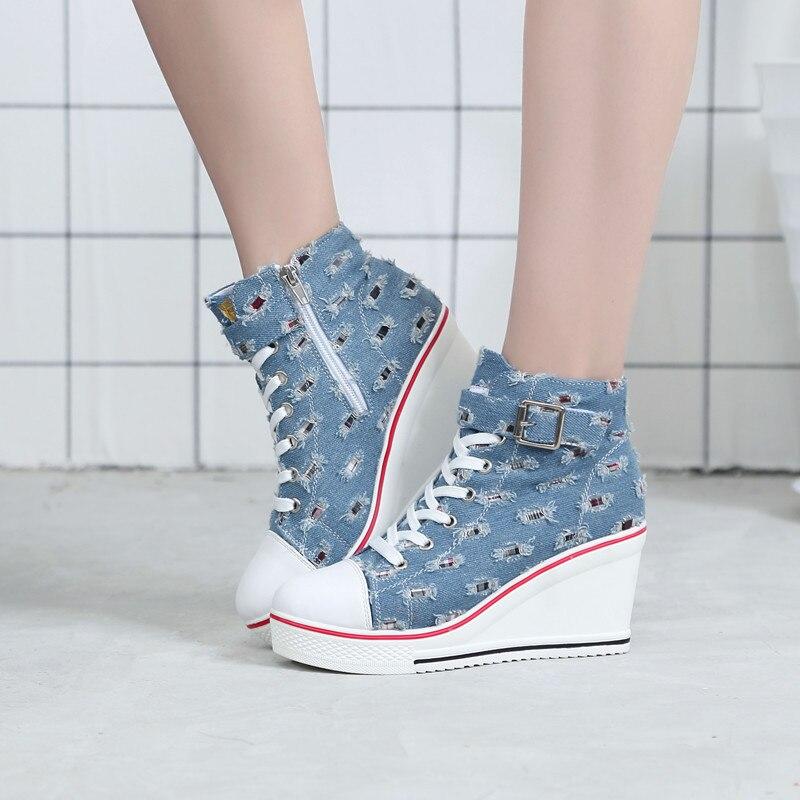 2019 nouvelle mode Printemps AutumnCasual Demin chaussures à semelles compensées Sneakers à lacets plateforme à talons hauts Chaussures Augmenté Bleu chaussures jeans