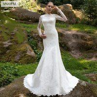 VNXIFM long sleeve lace trailing wedding dress slim princess dream 2019 new fishtail wedding dress size can be customized
