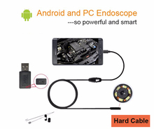 Android endoscope camera 5.5mm lens, Hard Cable wire length 1m 2m 3.5m support Win computer