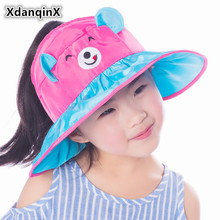 XdanqinX Foldable Summer Childrens Cap 2019 New Style Girls Cartoon Lovely Sun Hats Big Eaves Empty Top Beach Hat For Children