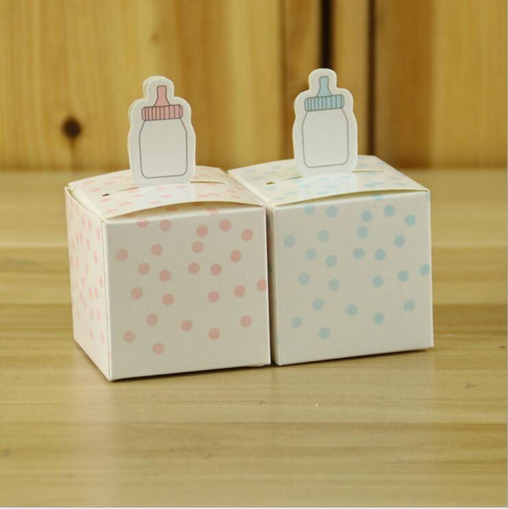 (100 pieces/lot)Nursing Feeding Bottle Baby Shower Party Favor Paper Box Birthday Candy Box Baby Shower Ornaments