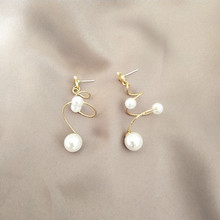 Korean temperament long Earrings spiral pearl sweet girl retro simple  drop earrings jewelry
