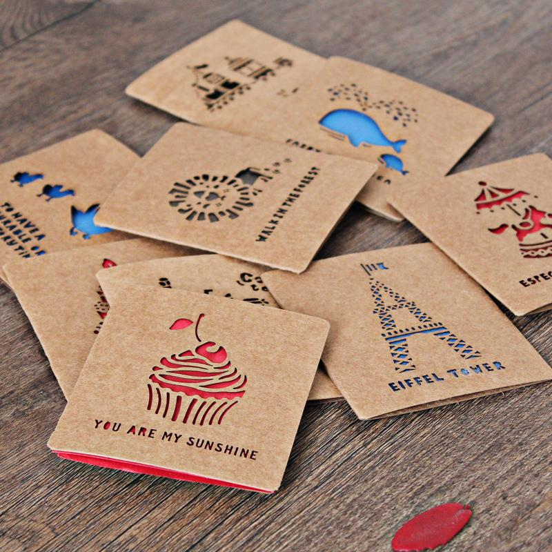 9 шт./партия, с животным вырезом, открытка для поздравительных открыток, пустая открытка на день рождения, пояс, конверт, Рождество, день рождения, праздничная открытка