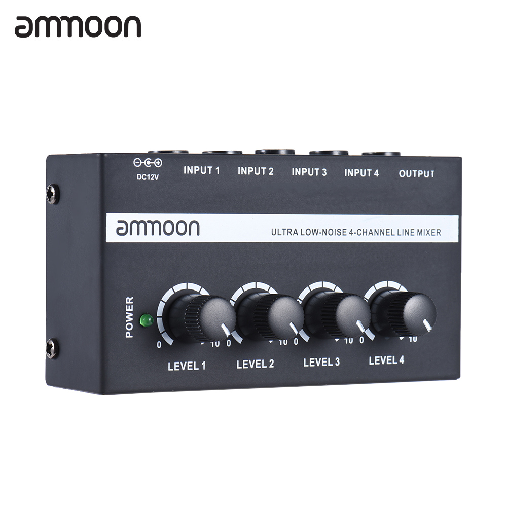 Ammoon MX400 4 Channels Mixer Ultra-compact Low Noise 4 Channels Line Mono Audio Mixer With Power Adapter