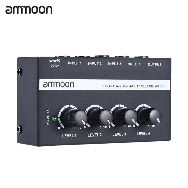 Ammoon MX400 4 채널 믹서 초소형 저잡음 4 채널 라인 모노 오디오 믹서 (전원 어댑터 포함)