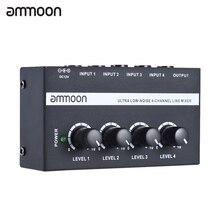 Ammoon MX400 4 kanallı mikser Ultra kompakt düşük gürültü 4 kanallı hat Mono ses mikseri ile güç adaptörü
