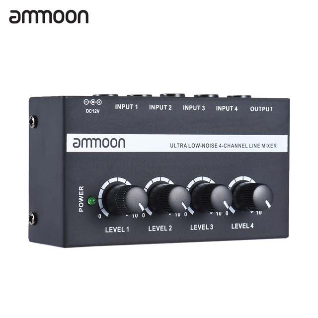 ammoon MX400 4 Channels Mixer Ultra compact Low Noise 4 Channels Line Mono Audio Mixer with Power Adapter
