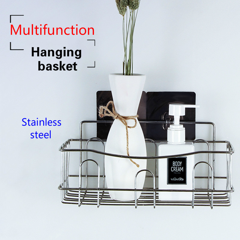 Cross border Dedicated For Punch free Wall Hanging Bathroom Shelf Stainless Steel Single layer Rack Kitchen Storage-in Bathroom Accessories Sets from Home & Garden