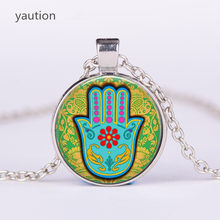 3/Color Hamsa Hand Amulet Lucky Necklace Jewelry Fatima Hand Judaica Kabbalah Charm Miriam Hand Pendant Necklace Jewelry(China)