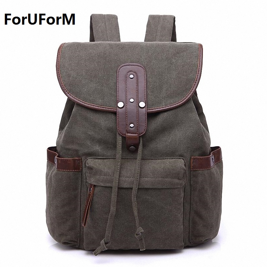 Vintage Retro Canvas Backpack Travel Casual Leather Bags Women and Men Book bag Youth Shoulder Bags Mochila Backpacks LI-1893 top hot cow leather canvas backpack women vintage backpack casual travel men backpack climbing bag for girls boys