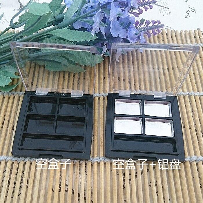 цена на 50pcs/lot 4grids aluminum plate black/transparent rectangle ps eye shadow/blush/face cream plastic box with transparent flip cap