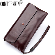 COMFORSKIN Genuine Oil Wax Leather Long Style Women Clutch Wallet European and American Two-fold Woman 2017 Carteira
