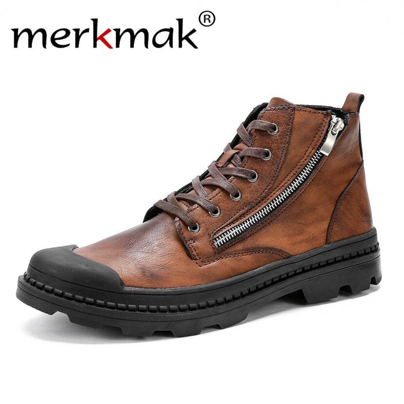 Merkmak PU Homens de Couro do Tornozelo Botas de Moda Botas de Neve Para Homens Botas de Zíper dos homens Man Black Brown Lace Up sapatos Para O Inverno Outono
