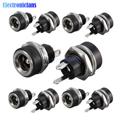 10Pcs 3A 12v For DC Power Supply Jack Socket Female Panel Mount Connector 5.5mm 2.1mm Plug Adapter 2 Terminal Types 5.5*2.1