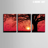 Free Shipping E HOME Trees Under The Setting Sun Clock in Canvas 3pcs wall clock