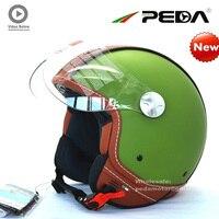 (2019) PEDA Italian ECE DOT motorcycle helmet Unisex Open Face Cascos Jet helm Vintage Leather electric Scooter cascque Retro