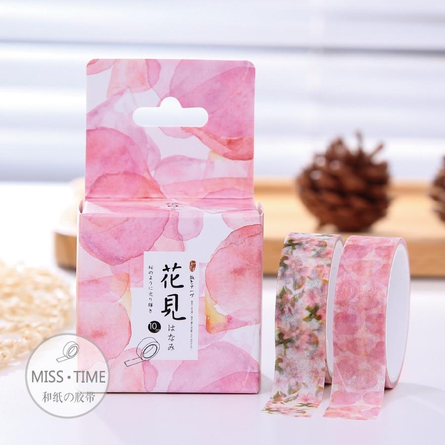 4pcslot Creative Diary DIY Japanese Partysu Flower Pattern Office Stationery Adhesive Cartoon Decor Washy Tape Scrapbooking WZ