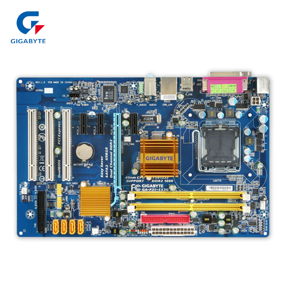 Gigabyte GA-P31-ES3G Original Used Desktop Motherboard P31-ES3G  P31 LGA 775  DDR2 4G SATA2 ATX velour beauty women design handbag chain shoulder bag mini small velvet crossbody satchel female messenger bags gift for girls