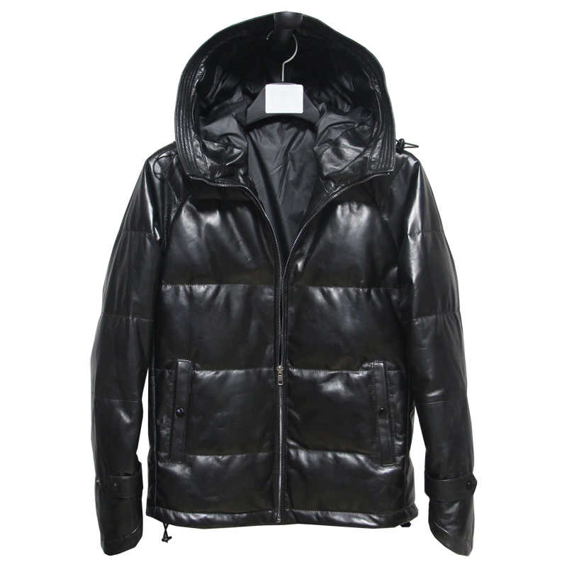 Free shipping,winter warm Mens genuine leather jacket.black sheepskin white duck down coat.plus size clothing,sales M-5XL