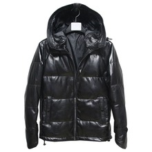 VANLED winter warm Mens genuine leather jacket.black sheepskin white duck down