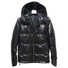 Freies verschiffen, winter warme Mens echtes leder jacke. schwarz schaffell weiße ente unten mantel. plus größe kleidung, verkäufe M 5XL