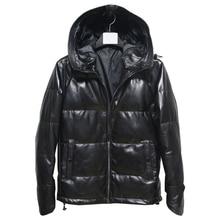 Livraison gratuite, veste en cuir véritable pour hommes. Manteau en duvet de canard blanc en peau de mouton noir. Vêtements grande taille, M 5XL de vente